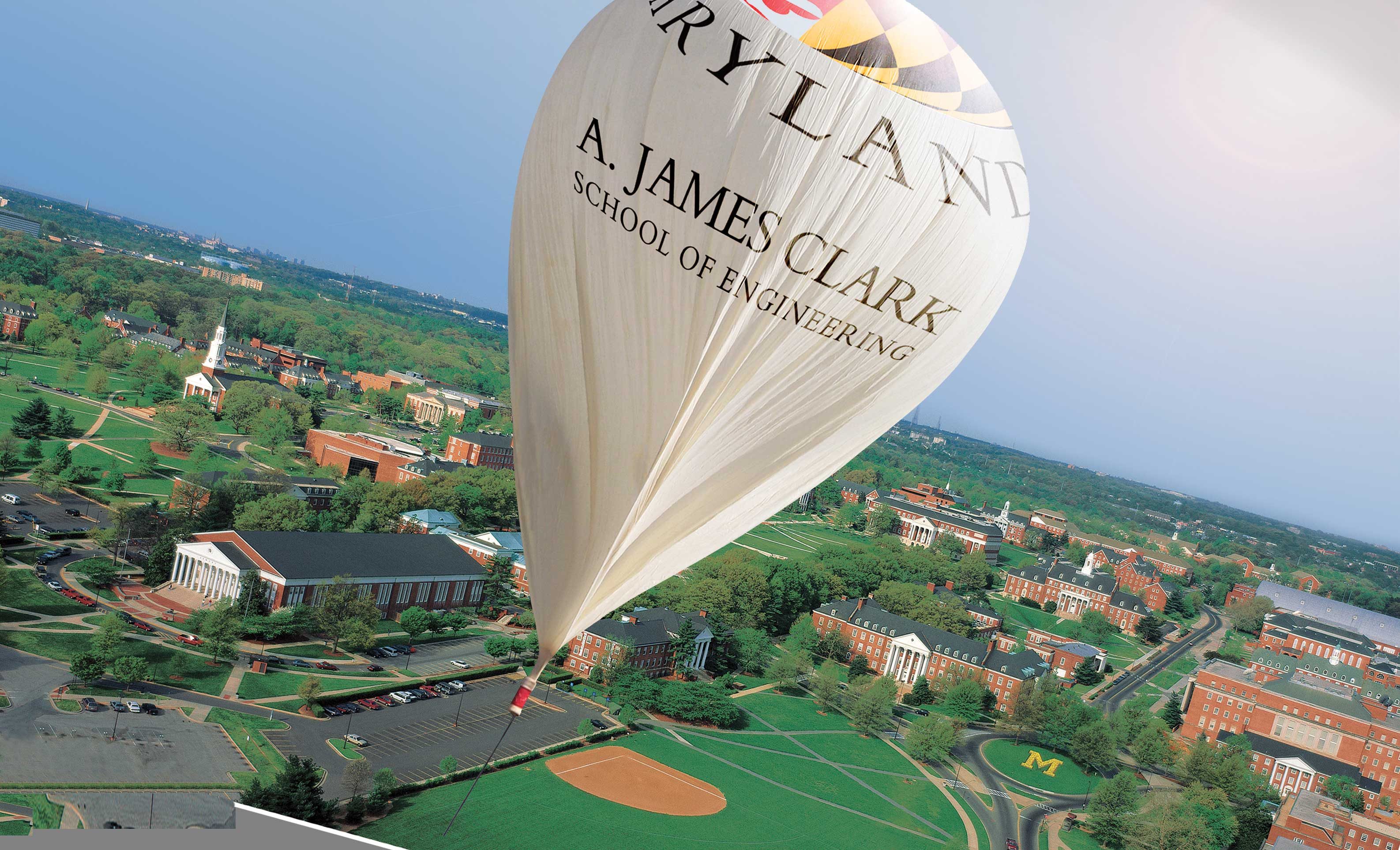 High-altitude baloon with the A. James Clark School of Engineering logo