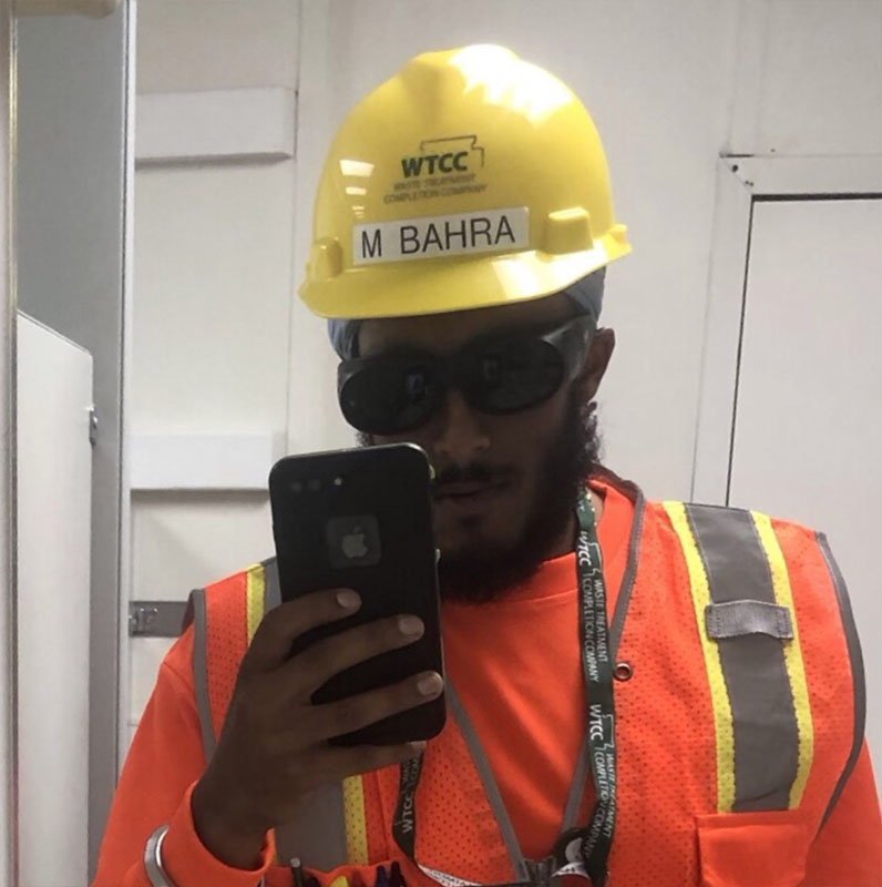 Mangulzar Bahra Bechtel intern summer 2019 wearing construction hat