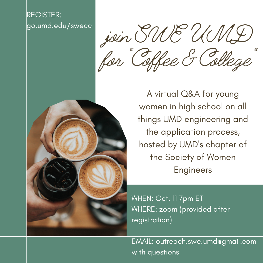 Flier - SWE @ UMD Coffee and College Event