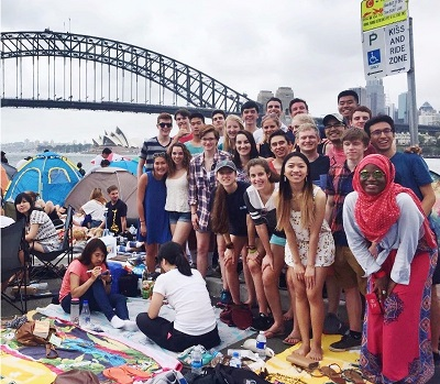 Clark School of Engineering students on study abroad pose in front of bridge in Sydney, Australia.