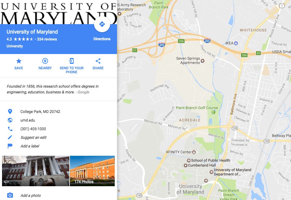 UMD Google Map Screen Shot
