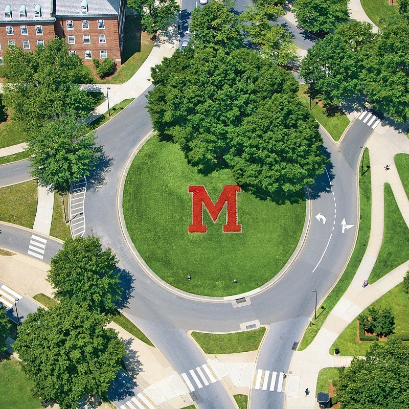 Aerial view of campus over Maryland letter M traffic circle.