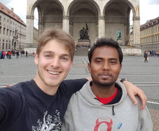 2017 Clark School UMD graduate Mark Borst poses with a fellow exchange student in Germany.