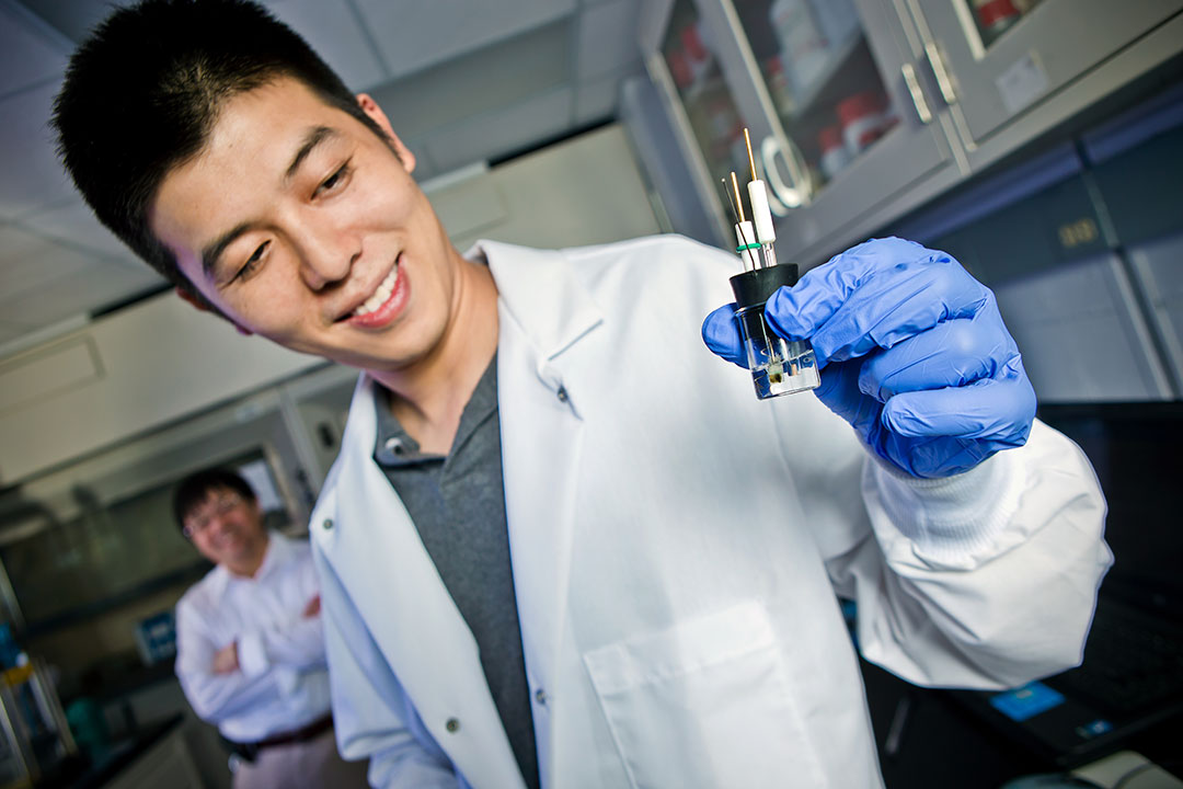 Alumnus Fei Wang holds a typical three-electrode cell used to determine detailed electrochemical properties of a salt water electrolyte