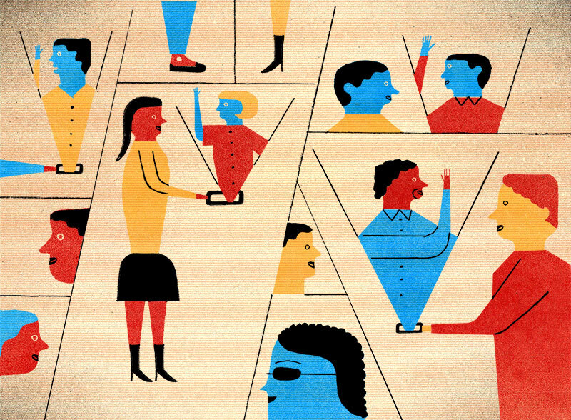 An illustration picturing students interacting with one another via tablets