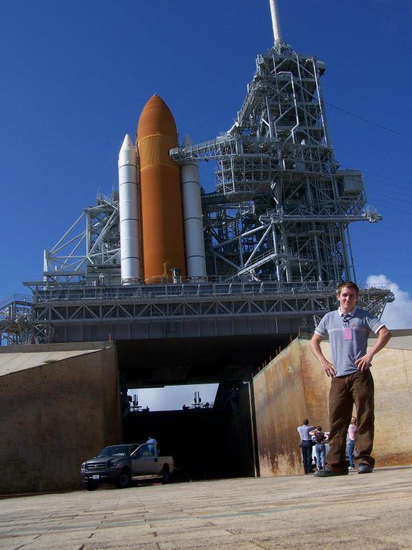 Steve Brookman NASA intern at a launch at Kennedy Space Center
