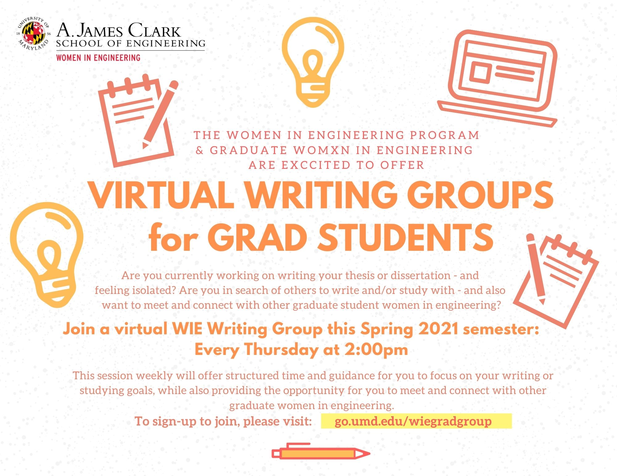wie writing group flyer spring 2021